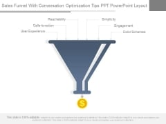 Sales Funnel With Conversation Optimization Tips Ppt Powerpoint Layout