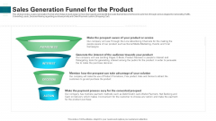 Sales Generation Funnel For The Product Ppt Professional Portrait PDF