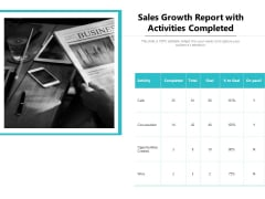 Sales Growth Report With Activities Completed Ppt PowerPoint Presentation Gallery Objects PDF