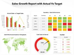 Sales Growth Report With Actual Vs Target Ppt PowerPoint Presentation File Skills PDF
