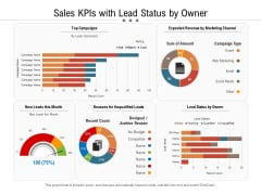 Sales Kpis With Lead Status By Owner Ppt PowerPoint Presentation Icon Shapes PDF