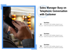 Sales Manager Busy On Telephonic Conversation With Customer Ppt PowerPoint Presentation File Icons PDF