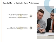 Sales Optimization Best Practices To Close More Deals Agenda How To Optimize Sales Performance Clipart PDF