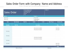 Sales Order Form With Company Name And Address Ppt PowerPoint Presentation Gallery Layouts PDF