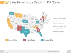 Sales Performance Report In Usa States Ppt PowerPoint Presentation Themes