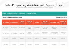 Sales Prospecting Worksheet With Source Of Lead Ppt PowerPoint Presentation Slides Inspiration PDF