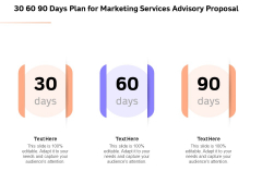 Sales Strategy Consulting 30 60 90 Days Plan For Marketing Services Advisory Proposal Background PDF