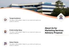 Sales Strategy Consulting About Us For Marketing Services Advisory Proposal Clients Sample PDF