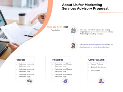 Sales Strategy Consulting About Us For Marketing Services Advisory Proposal Professional PDF
