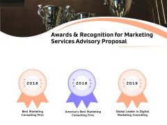 Sales Strategy Consulting Awards And Recognition For Marketing Services Advisory Proposal Slides PDF