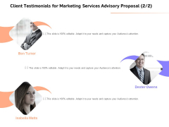 Sales Strategy Consulting Client Testimonials For Marketing Services Advisory Proposal Audience Infographics PDF