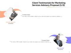 Sales Strategy Consulting Client Testimonials For Marketing Services Advisory Proposal Background PDF
