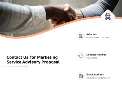 Sales Strategy Consulting Contact Us For Marketing Service Advisory Proposal Template PDF