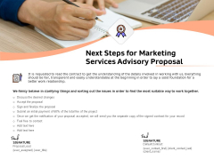 Sales Strategy Consulting Next Steps For Marketing Services Advisory Proposal Professional PDF