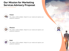 Sales Strategy Consulting Our Mission For Marketing Services Advisory Proposal Template PDF