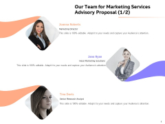 Sales Strategy Consulting Our Team For Marketing Services Advisory Proposal Ideas PDF