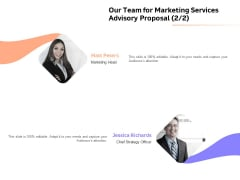 Sales Strategy Consulting Our Team For Marketing Services Advisory Proposal Strategy Icons PDF