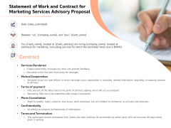 Sales Strategy Consulting Statement Of Work And Contract For Marketing Services Advisory Proposal Structure PDF