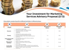 Sales Strategy Consulting Your Investment For Marketing Services Advisory Proposal Cost Information PDF