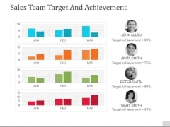 Sales Team Target And Achievement Ppt PowerPoint Presentation Pictures Deck
