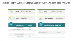 Sales Team Weekly Status Report With Metrics And Values Ppt Slides Gallery PDF