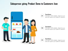 Salesperson Giving Product Demo To Customers Icon Ppt PowerPoint Presentation Layouts Graphics PDF