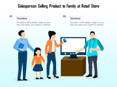 Salesperson Selling Product To Family At Retail Store Ppt PowerPoint Presentation Summary Introduction PDF