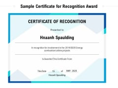 Sample Certificate For Recognition Award Ppt PowerPoint Presentation File Mockup PDF