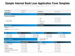 Sample Internal Bank Loan Application Form Template Ppt PowerPoint Presentation File Background Image PDF