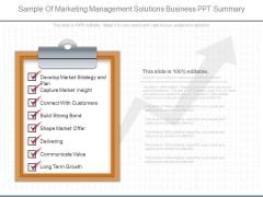 Sample Of Marketing Management Solutions Business Ppt Summary