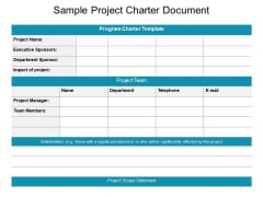 Sample Project Charter Document Ppt PowerPoint Presentation Summary Graphic Images