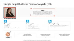Sample Target Customer Persona Template Quote Initiatives And Process Of Content Marketing For Acquiring New Users Summary PDF