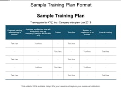 Sample Training Plan Format Ppt PowerPoint Presentation Styles Background