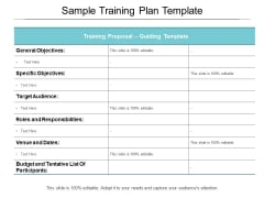 Sample Training Plan Template Ppt PowerPoint Presentation Summary Topics