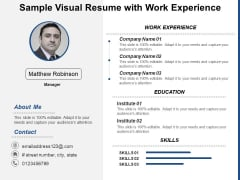 Sample Visual Resume With Work Experience Ppt PowerPoint Presentation Slides Portrait PDF