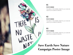 Save Earth Save Nature Campaign Poster Image Ppt PowerPoint Presentation Inspiration Pictures PDF
