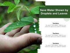 Save Water Shown By Droplets And Leaves Ppt PowerPoint Presentation File Themes PDF