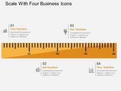 Scale With Four Business Icons Powerpoint Templates
