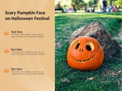 Scary Pumpkin Face On Halloween Festival Ppt PowerPoint Presentation File Background Designs PDF