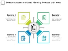 Scenario Assessment And Planning Process With Icons Ppt PowerPoint Presentation Portfolio Vector PDF