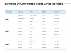 Schedule Of Conference Event Venue Services Ppt PowerPoint Presentation Ideas Backgrounds