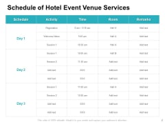 Schedule Of Hotel Event Venue Services Ppt PowerPoint Presentation Slides Professional