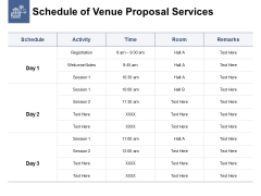 Schedule Of Venue Proposal Services Ppt PowerPoint Presentation Graphics