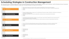 Scheduling Strategies In Construction Management Sample PDF