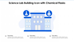 Science Lab Building Icon With Chemical Flasks Ppt File Infographics PDF
