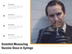 Scientist Measuring Vaccine Dose In Syringe Ppt PowerPoint Presentation Model Summary PDF
