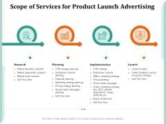 Scope Of Services For Product Launch Advertising Ppt PowerPoint Presentation Inspiration Example File PDF