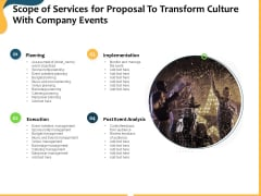 Scope Of Services For Proposal To Transform Culture With Company Events Ppt Ideas Graphics Tutorials PDF