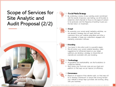 Scope Of Services For Site Analytic And Audit Proposal Email Ppt Show Examples PDF