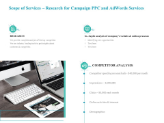 Scope Of Services Research For Campaign PPC And Adwords Services Background PDF